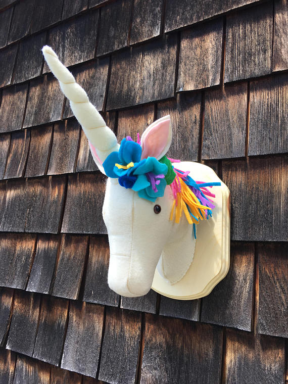 75+ Magically Inspiring Unicorn Crafts, DIYs, Foods and Gift Ideas: Unicorn Plush Faux Taxidermy Trophy Head