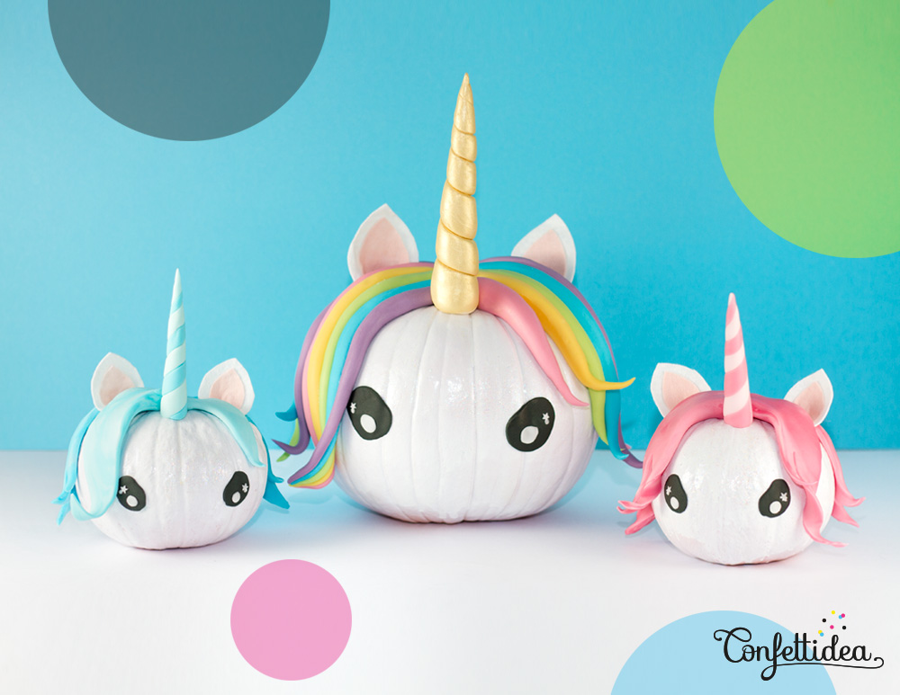 75+ Magically Inspiring Unicorn Crafts, DIYs, Foods and Gift Ideas: Unicorn Pumpkins from Confettidea