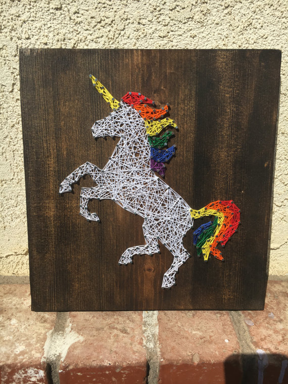 75+ Magically Inspiring Unicorn Crafts, DIYs, Foods and Gift Ideas: Unicorn String Art