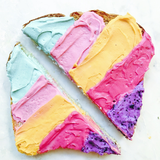 75+ Magically Inspiring Unicorn Crafts, DIYs, Foods and Gift Ideas: Unicorn Toast from Vibrant and Pure