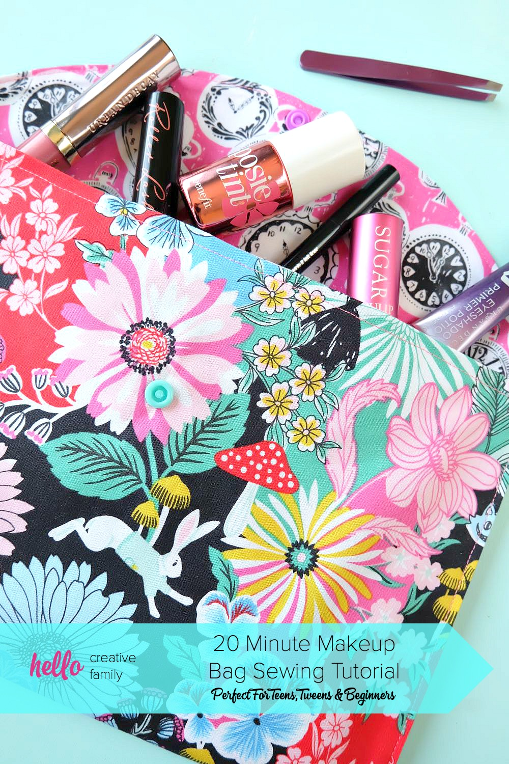 20 minute makeup bag sewing tutorial perfect for teens for Sewing crafts for teens