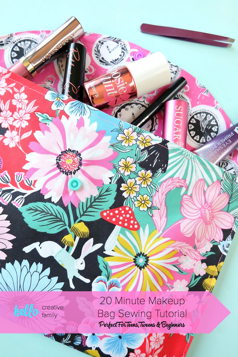 20 Minute Makeup Bag Sewing Tutorial- Perfect for Teens and Beginners