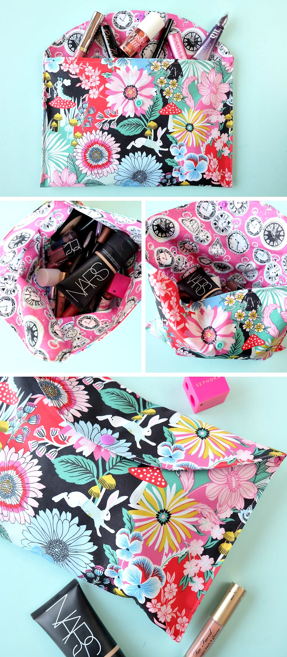 This 20 Minute Makeup Bag Sewing Tutorial is the perfect sewing project for teens, tweens, beginners or anyone learning to sew. Quick and easy, it makes an ideal handmade gift idea perfect for Mother's Day, Christmas, Teacher Appreciation or bridal party gifts!