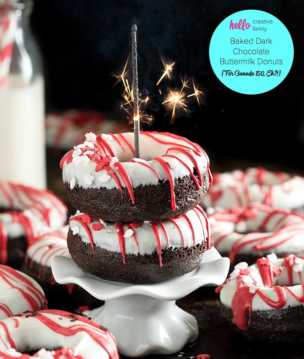 This moist and delicious Baked Dark Chocolate Buttermilk Donuts Recipe can be made and glazed in under an hour! A perfect rich and tender, chocolate-y cake donut! So easy and perfect for entertaining or special celebrations like Canada Day! Created for Canada 150!