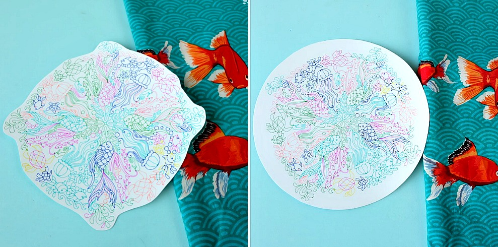 Create a gorgeous DIY Rainbow Under the Sea Pillow using your Cricut Explore to draw a coloring page design on printable heat transfer vinyl! This is an easy project that makes bright and colorful handmade gift idea. Includes instructions on how to sew an envelope style throw pillow cover.