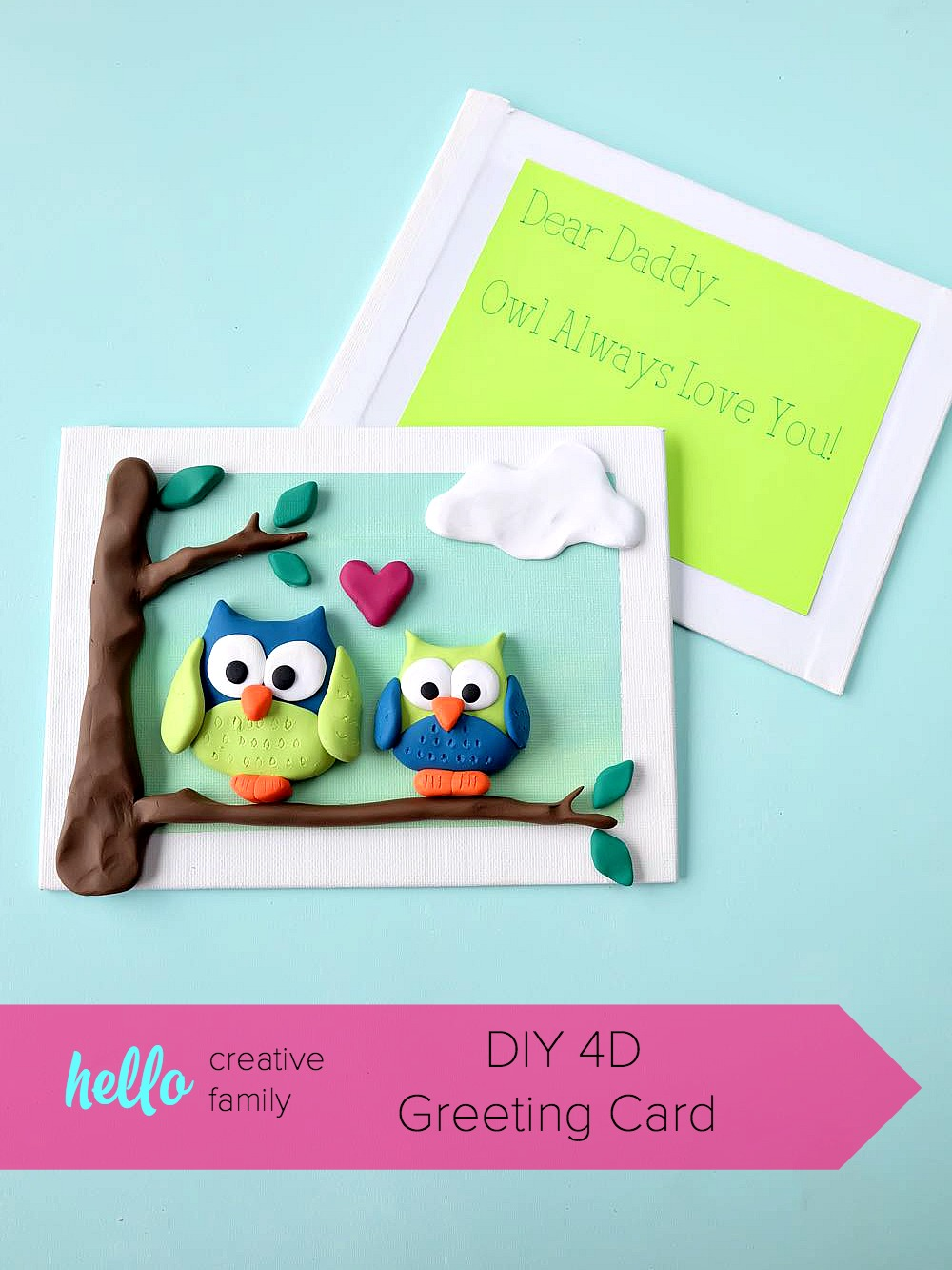 Diy 4d greeting card hello creative family make an adorable 4d greeting card using polymer clay and a dollar store artist canvas kristyandbryce Gallery
