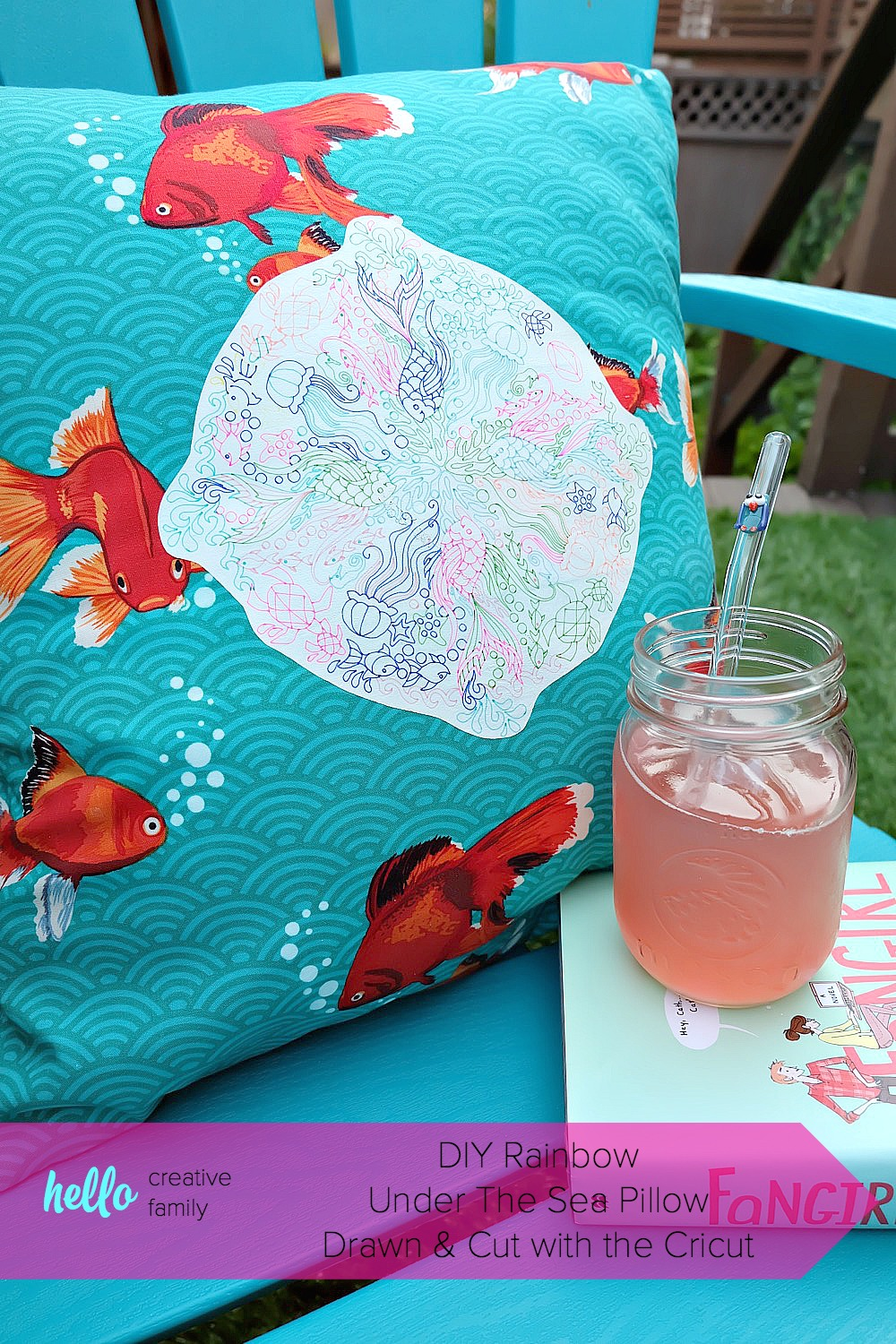 Create a gorgeous DIY Rainbow Under the Sea Pillow using your Cricut Explore to draw a coloring page design on printable heat transfer vinyl! This is an easy project that makes bright and colorful handmade gift idea. Includes instructions on how to sew an envelope style throw pillow cover. #CricutMade