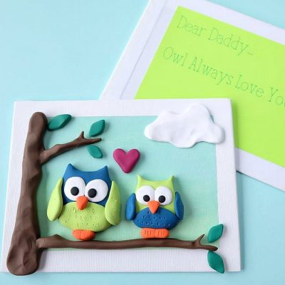 Make an adorable 4D greeting card using polymer clay and a dollar store artist canvas. This project makes a fabulous greeting card for Fathers Day, Mothers Day, Birthdays or any other fun occasion! Easy enough for kids to craft!