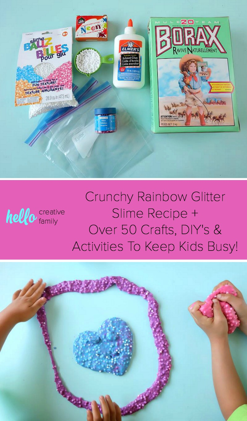 Keep kids busy for hours with this crunchy rainbow glitter slime recipe that goes snap, crackle pop when you squeeze it! This post also has over 50 other activities to keep kids busy during summer break!