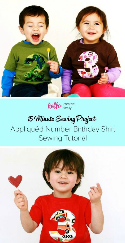 Learn how to make a appliqued letter or number birthday shirt with this simple tutorial! This is the perfect 15 minute sewing project for beginners. Perfect for kids birthday parties or for an adorable DIY graphic tshirt for everyday wear. A great way to use up those fabric scraps! Makes a great handmade gift idea!