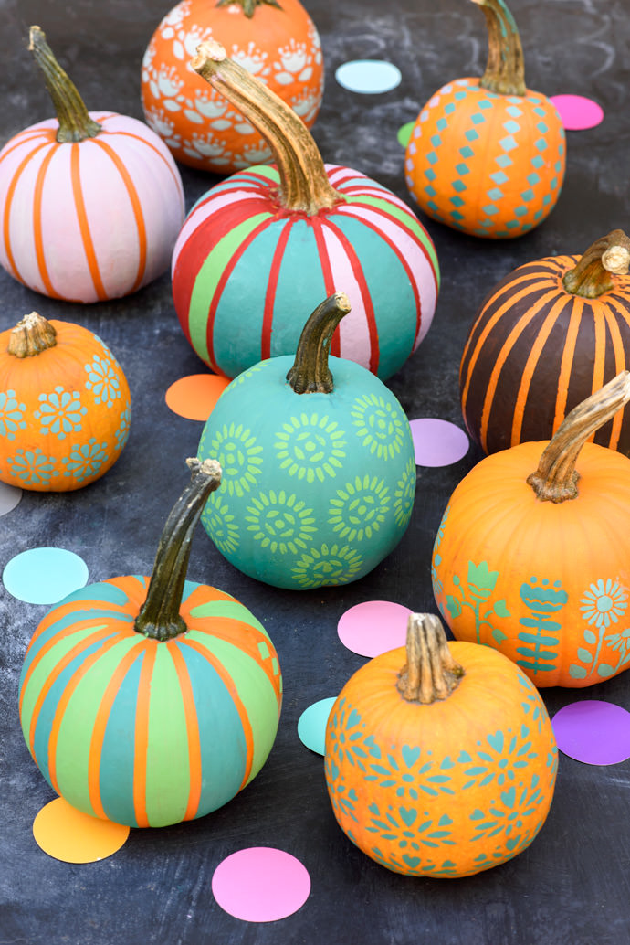 27+ Awesome Pumpkin Crafts, DIYs and Decorating Ideas- Colorful Chalk Paint Pumpkins from Handmade Charlotte