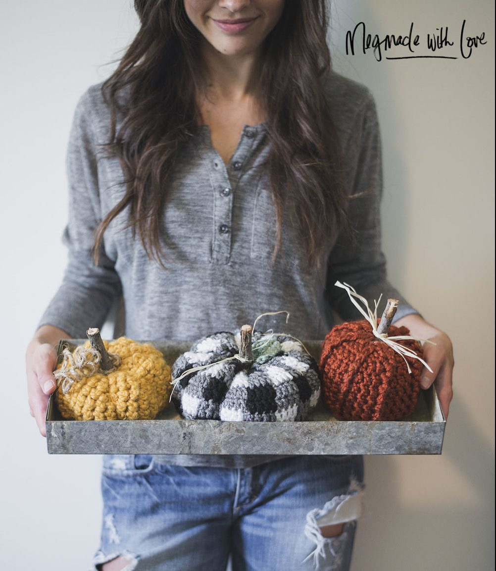 27+ Awesome Pumpkin Crafts, DIYs and Decorating Ideas- Crocheted Plaid Pumpkin Pattern from Meg Made With Love