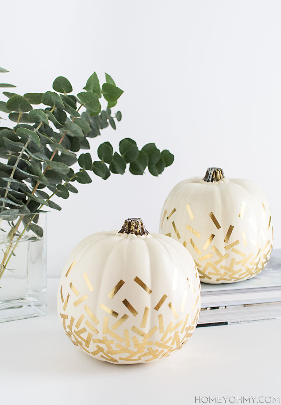 27+ Awesome Pumpkin Crafts, DIYs and Decorating Ideas- DIY Gold Confetti Pumpkins from Homeyohmy
