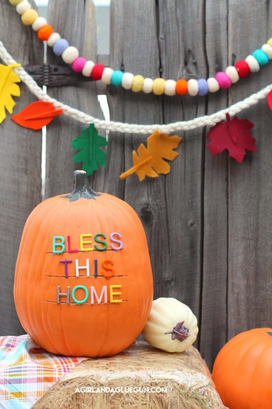27+ Awesome Pumpkin Crafts, DIYs and Decorating Ideas- DIY Letterboard Pumpkin Project from A Girl and a Glue Gun