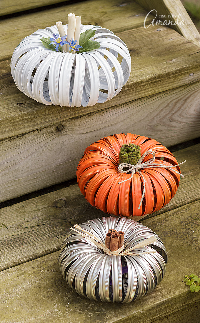 27+ Awesome Pumpkin Crafts, DIYs and Decorating Ideas- DIY Mason Jar Lid Pumpkins from Crafts By Amanda