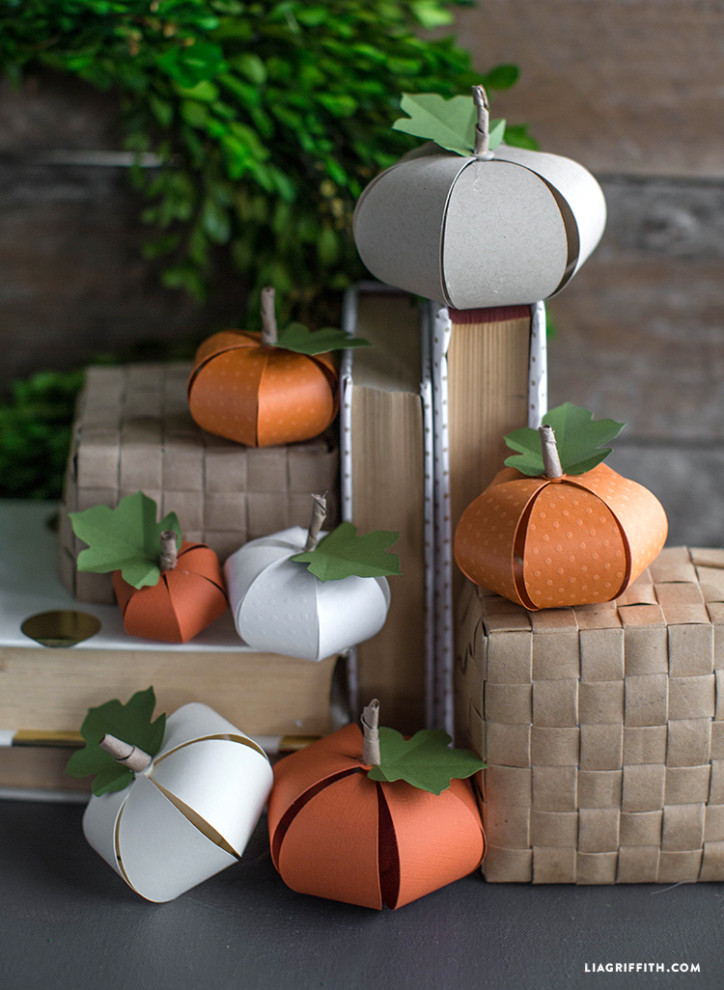 27+ Awesome Pumpkin Crafts, DIYs and Decorating Ideas- DIY Paper Pumpkins from Lia Griffith