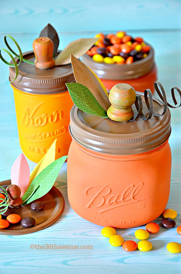 27+ Awesome Pumpkin Crafts, DIYs and Decorating Ideas- DIY Pumpkin Candy Jars from The 36th Avenue