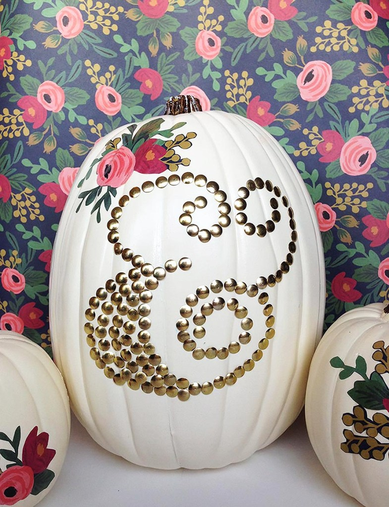 DIY Thumbtack Decorated Pumpkin from Gold Standard Workshop