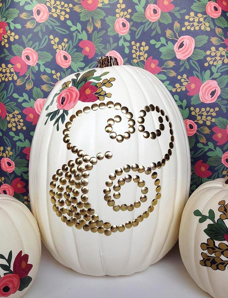DIY Thumbtack Decorated Pumpkin from Gold Standard Workshop
