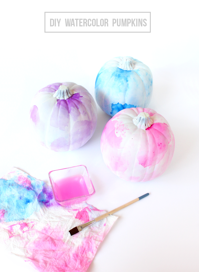 27+ Awesome Pumpkin Crafts, DIYs and Decorating Ideas- DIY Watercolor Pumpkins from Lines Across