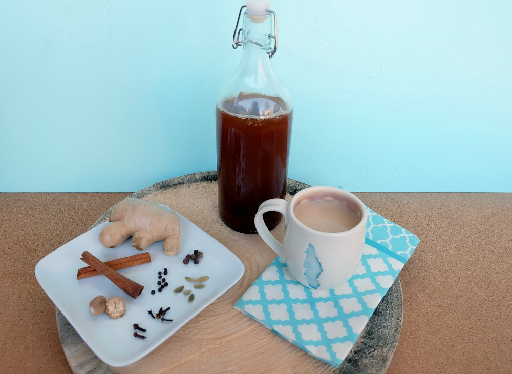 Move over Starbucks! This spicy chai tea concentrate recipe is simple to make and can be stored in the fridge for an easy cup of chai tea in minutes! Filled with ginger and cinnamon it packs quite a spicy kick. It's also perfect for camping! Serve as a chai tea latte or an iced chai. Add this to your weekend meal prep list!