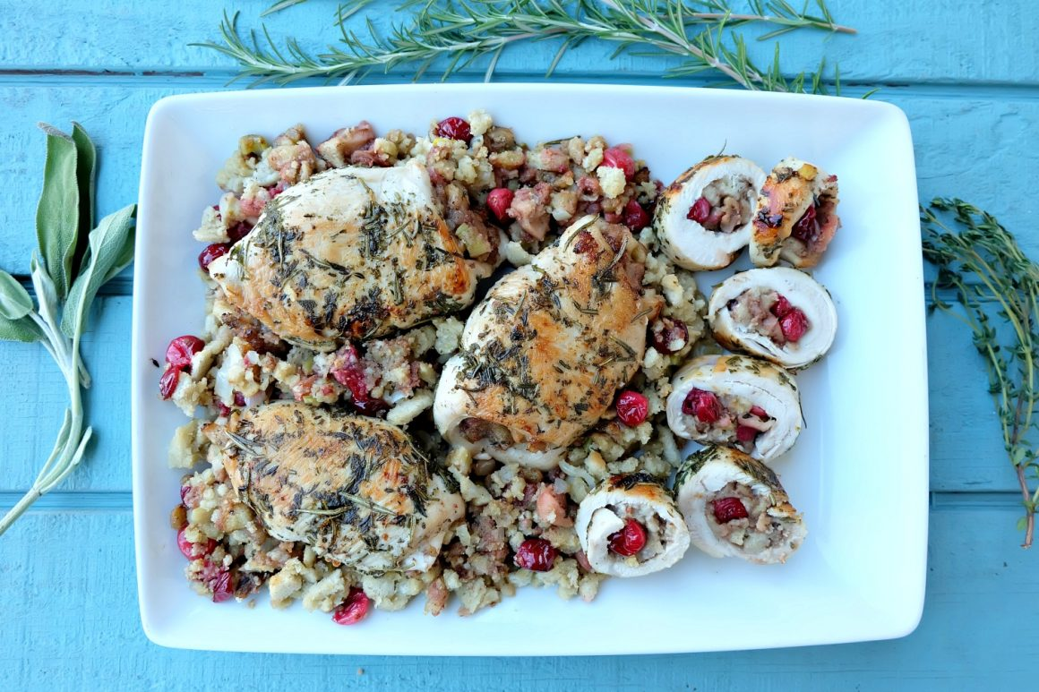 This delicious apple cranberry stuffed turkey breast recipe is perfect for a Thanksgiving meal or for a weeknight dinner! Ready in 45 minutes or less, this easy meal is a fabulous Thanksgiving dinner for two, four or more! Great for small family festivities! Recipe development #sponsored by Canadian Turkey.