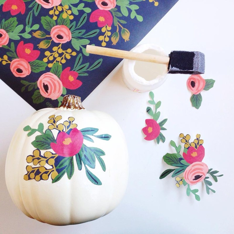 27+ Awesome Pumpkin Crafts, DIYs and Decorating Ideas- Decoupage Floral Pumpkin Tutorial from Gold Standard Workshop