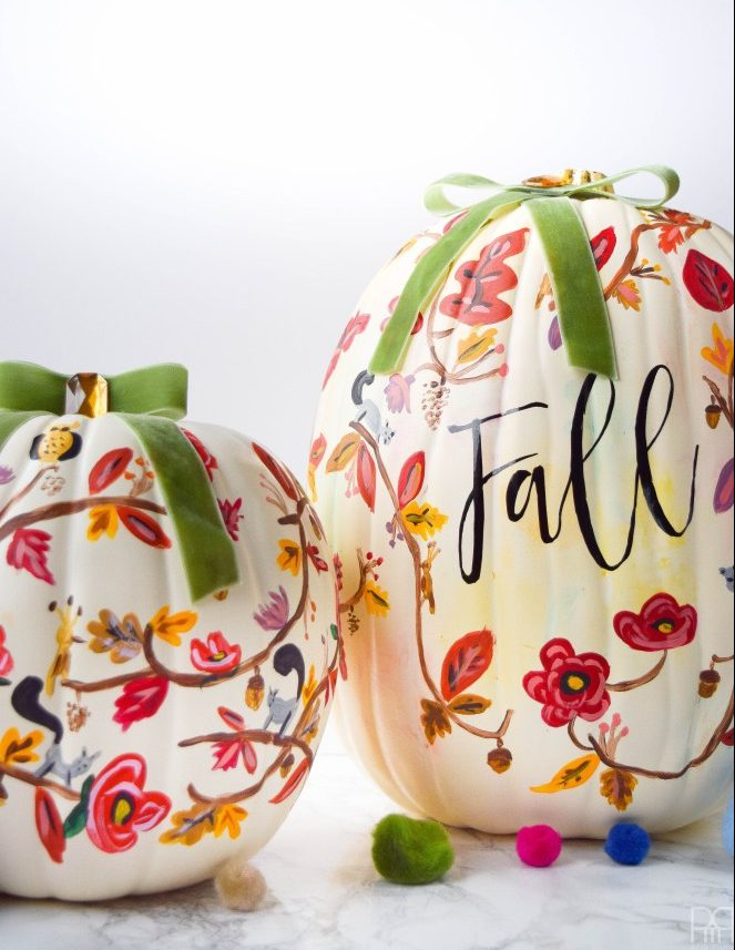 27+ Awesome Pumpkin Crafts, DIYs and Decorating Ideas- Fall Painted Pumpkin Tutorial from PMQ For Two
