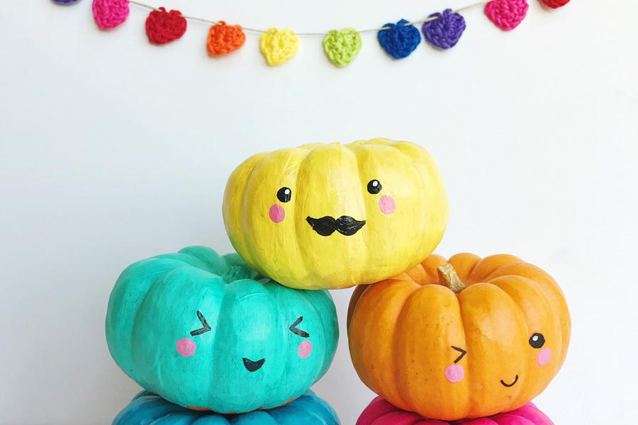 27+ Awesome Pumpkin Crafts, DIYs and Decorating Ideas- Kawaii Painted Pumpkins from Ooly