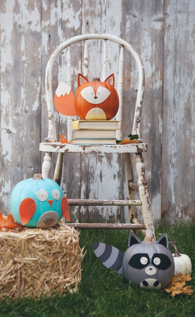 27+ Awesome Pumpkin Crafts, DIYs and Decorating Ideas- Woodland Animals Pumpkins from Simple As That