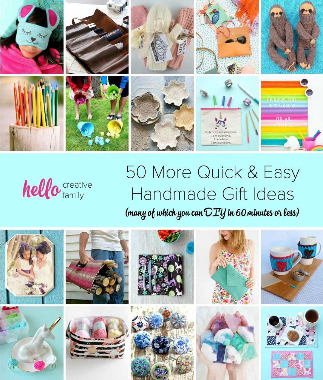 Whether you're looking for ideas for Christmas, Mother's Day, Father's Day or birthdays, we've got you covered with 50+ quick and easy handmade gift ideas most of which you can DIY in 1 hour (60 minutes) or less! #handmadegift #diy #crafting