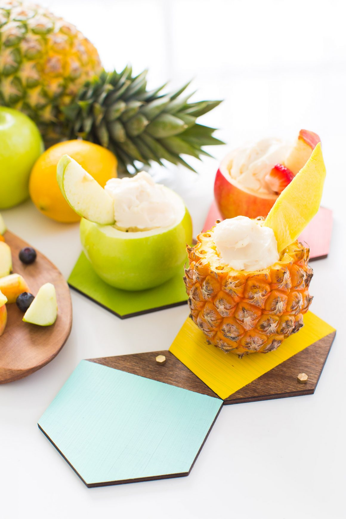 50 Easy Handmade Gift Ideas You'll Love: Color Blocked Hexagon Mini Serving Boards from Sugar and Cloth
