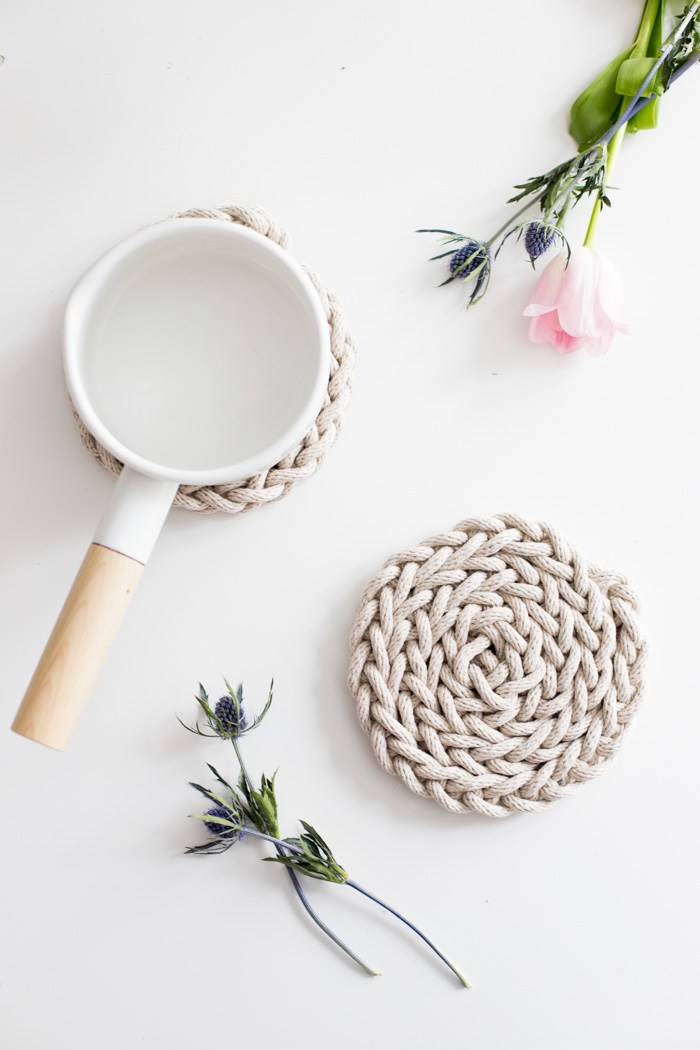 50 Easy Handmade Gift Ideas You'll Love: DIY Finger Knit Rope Trivet from Flax & Twine
