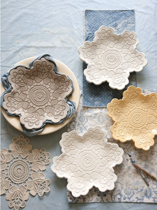 50 Easy Handmade Gift Ideas You'll Love: DIY Lace Pottery Made Using Doilies from Victoria Mag