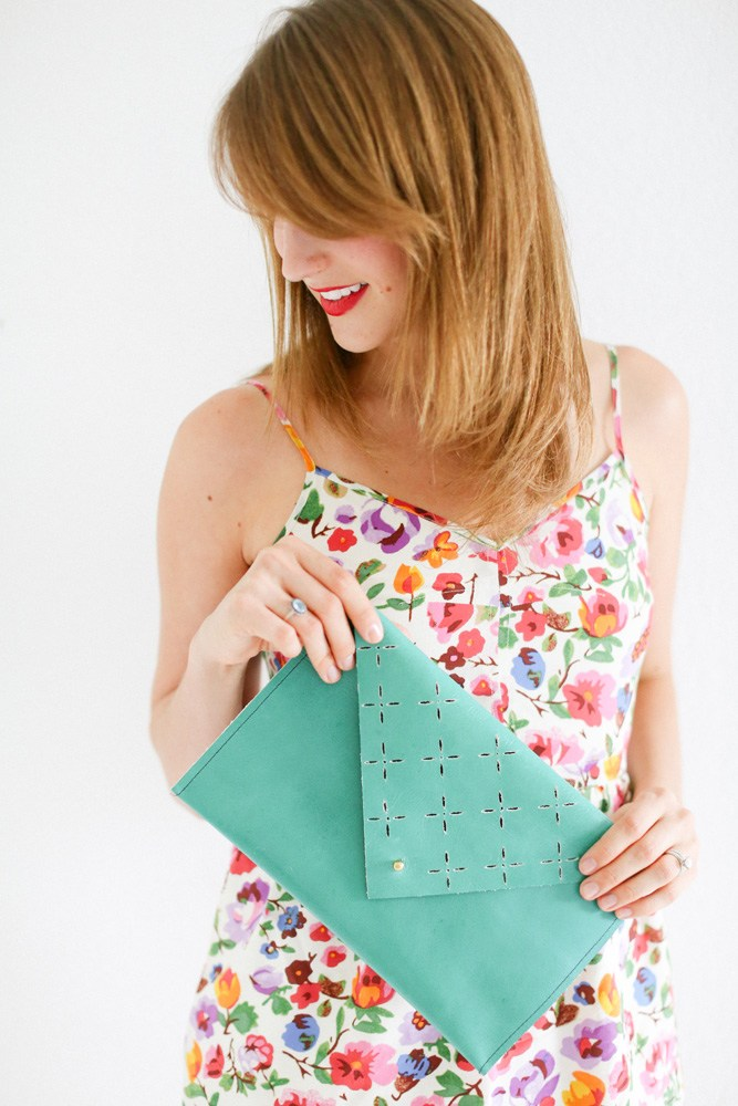 50 Easy Handmade Gift Ideas You'll Love: DIY Leather Clutch from Sew Bon