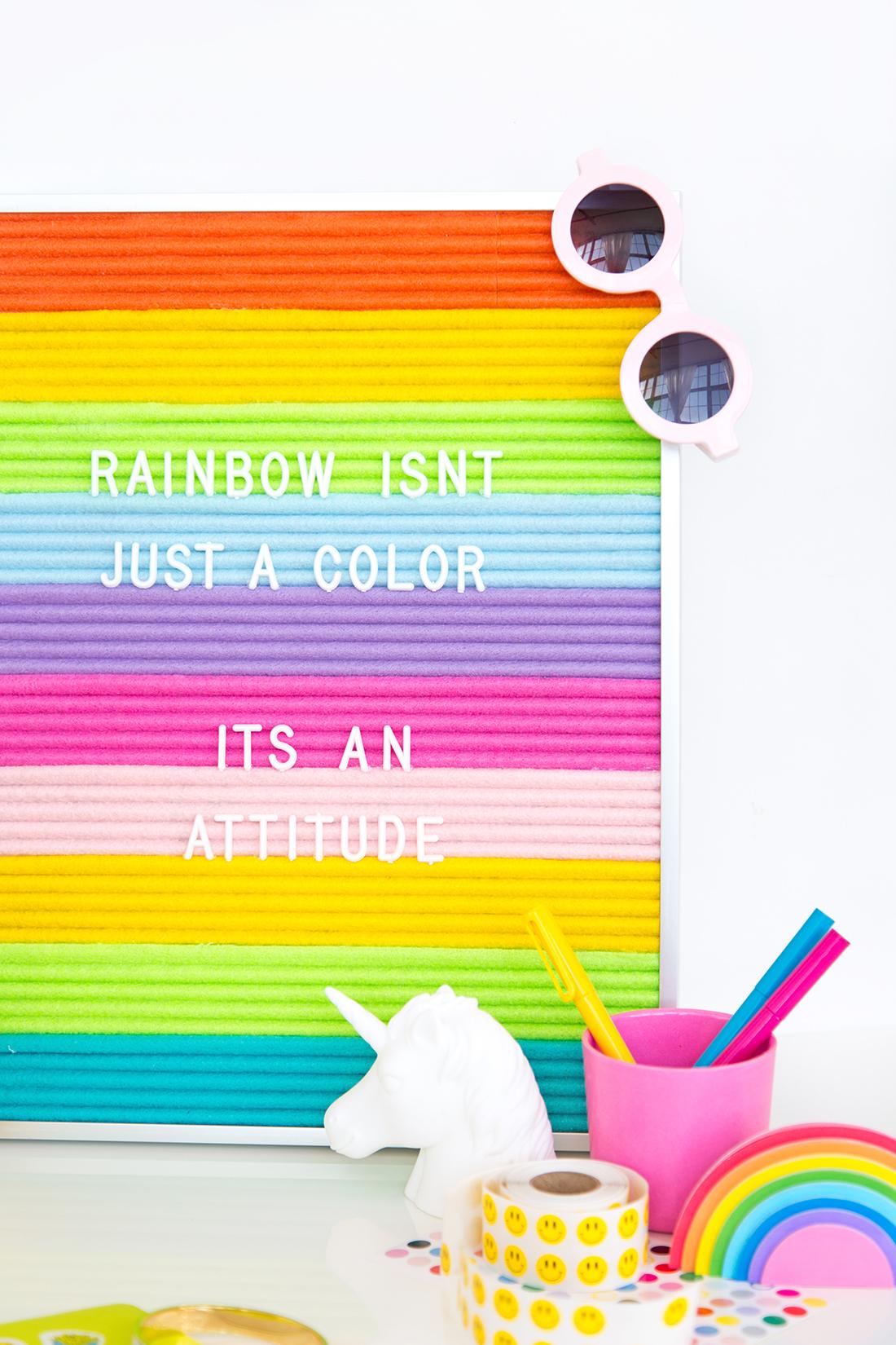 50 Easy Handmade Gift Ideas You'll Love: DIY Rainbow Felt Letterboard from Aww Sam