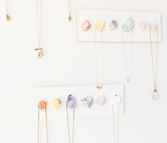 50 Easy Handmade Gift Ideas You'll Love: DIY Raw Crystal Necklace Display Hanger from Julep
