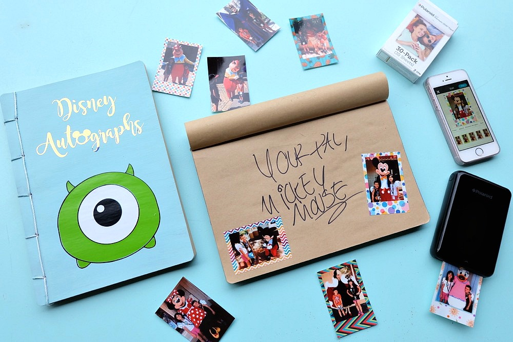 Make every penny count on your next trip to Disneyland or Disney World with this easy Disneyland Autograph Book with Photo Stickers! Turn a dollar store notebook into an awesome keepsake! Load it with fun sticker back photos of your kids posing with their favorite Disney characters! Great for those trying to stick to a budget during their Disney travel plans! #Disney #DIY #Crafts