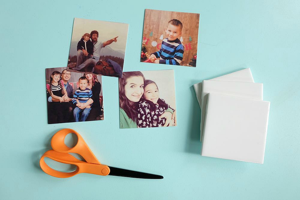 Turn your favorite family photos into gorgeous DIY photo coasters! This project is an easy handmade gift idea that costs less than $5.00 to make! Perfect for DIY gifts for moms, dads, grandmas and grandpas for Christmas, birthdays, Mother's day and Father's Day! This tutorial has step by step photos and instructions. #handmadegift #craft #diy #photography