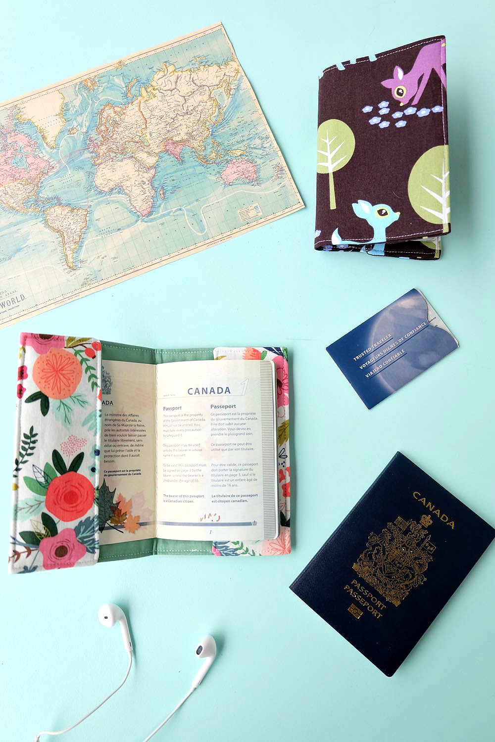 Know someone who loves to travel? This 30 minute DIY passport holder sewing tutorial makes a lovely handmade gift for anyone who has the travel bug! Customize it with your favorite fabric. The passport holder has a pocket to hold extra ID. This project tutorial has step by step photos making it so easy to make at home. Also comes with a free Cricut cut file for if you want to cut your fabric with the Cricut Maker. #sewing #craft #DIY #travel #cricutmaker