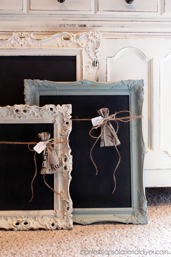 50 Easy Handmade Gift Ideas You'll Love: Upcycle a Picture Frame Into A Fancy Chalkboard from Confessions of a Serial DIYer