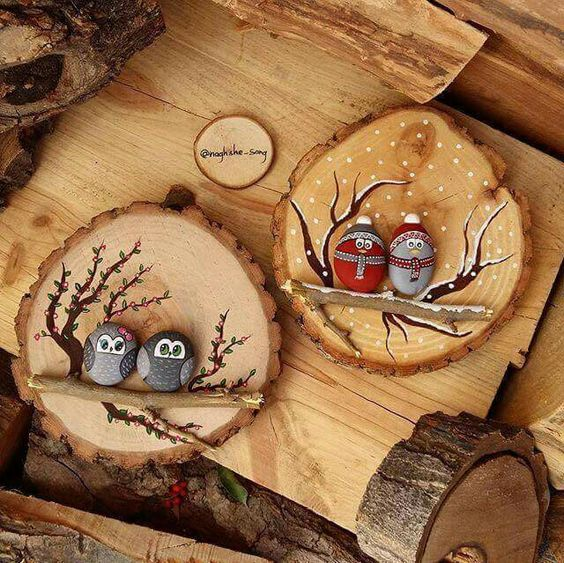 50 Easy Handmade Gift Ideas You'll Love: Wood Slice Bird Scene from Naghshe Sang