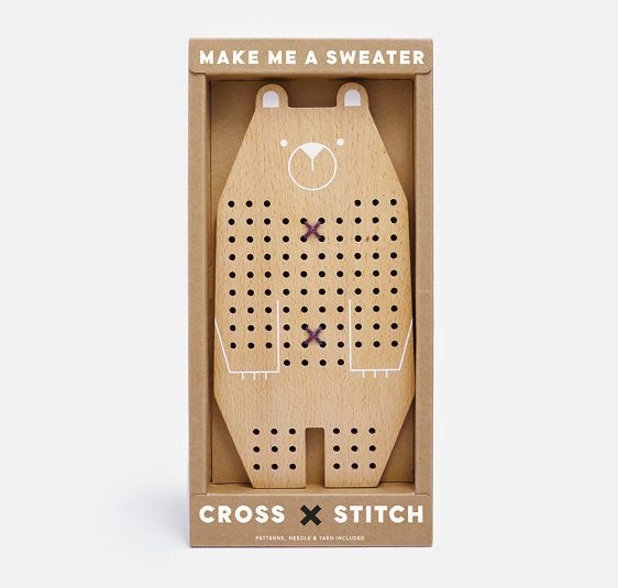 Handmade Holiday Gift Guide Gifts For Kids: Bear Learn To Cross Stitch Kit from Moon Picnic