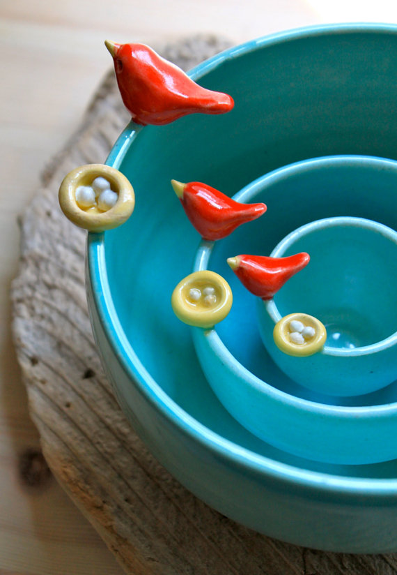 Handmade Holiday Gift Guide Gifts For Her: Bird and Nest Nesting Bowls from Tasha Mckelvey
