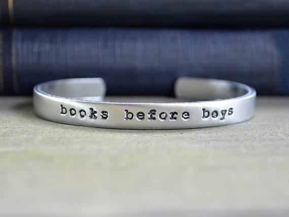 Handmade Holiday Gift Guide Gifts For Her: Books Before Boys Bracelet from Cynical Redhead