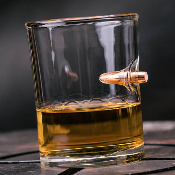 Handmade Holiday Gift Guide Gifts For Him: Bullet Whiskey Glass from Lucky Shot USA