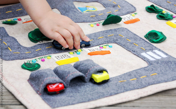 Handmade Holiday Gift Guide Gifts For Kids: Car Track Quiet Time Mat from Mono No Avare