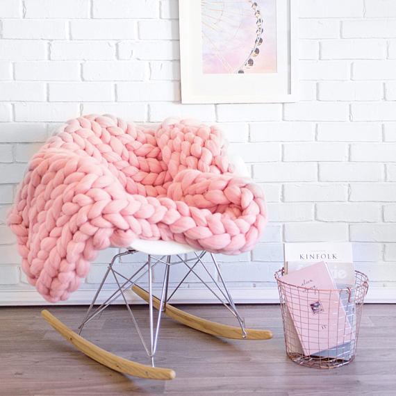 Handmade Holiday Gift Guide Gifts For Her: Chunky Merino Wool Grande Punto Blanket from Ohhio