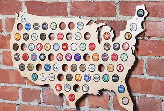 Handmade Holiday Gift Guide Gifts For Him: Craft Beer Bottle Cap Map from Cheap Humidors