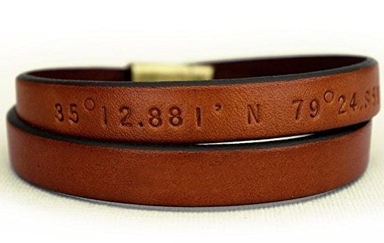 Handmade Holiday Gift Guide Gifts For Him: Custom Coordinates Leather Wrap Bracelet from Edge Of Now
